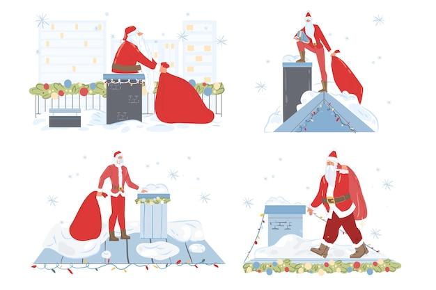 Kerstman op dak set.