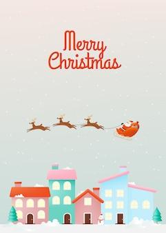 Kerstman op de slee die over huizen vliegt in papierkunst en pastelkleuren