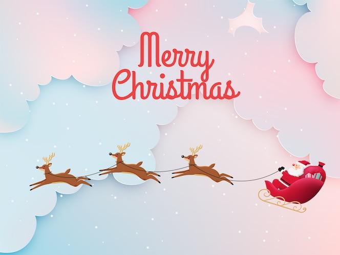 Kerstman op de slee met mooie lucht in papierkunst