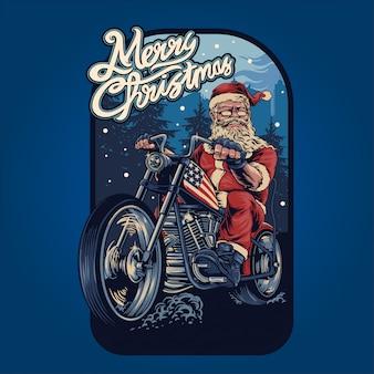 Kerstman op een motor