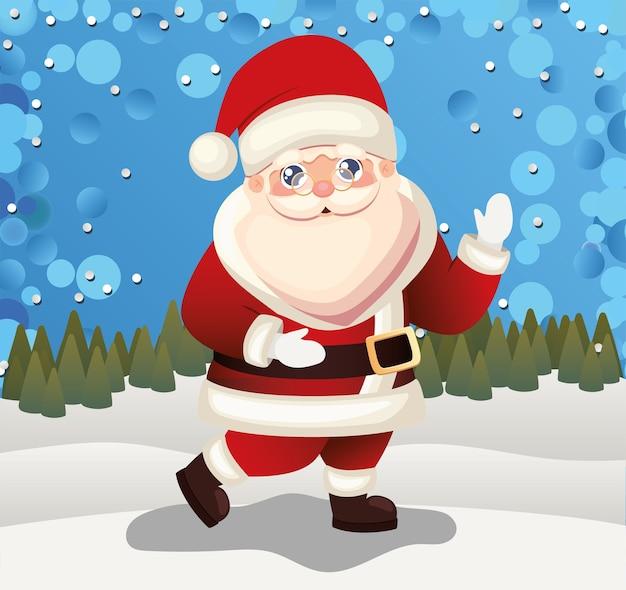 Kerstman op een winterlandschap achtergrond illustratie