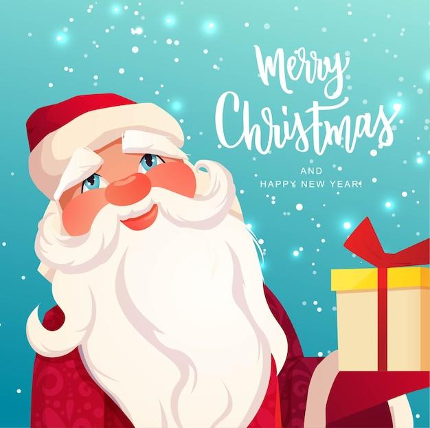 Kerstman op gestructureerde achtergrond merry christmas hand belettering tekst