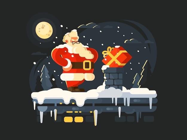 Kerstman op het dak duwt geschenk in schoorsteen. illustratie