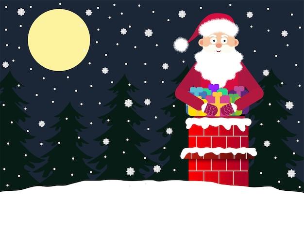 Kerstman op het dak in de nacht. kerstman met geschenken in de schoorsteen.