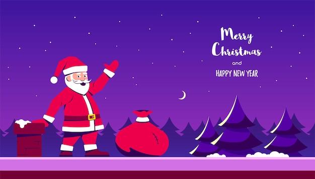 Kerstman op huisdak met rode giftenzak. vlakke stijl.