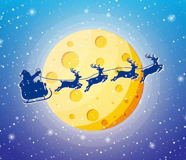 Kerstman op slee en zijn rendieren silhouet