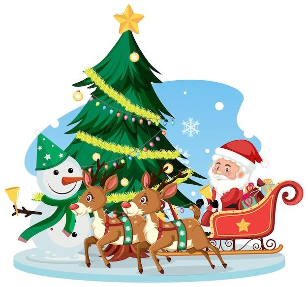 Kerstman op slee met rendieren