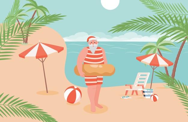 Kerstman op vakantie illustratie.
