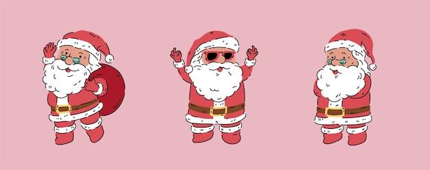 Kerstman organische stijl vectorillustratie verscheidenheid pose actie geïsoleerd op roze background