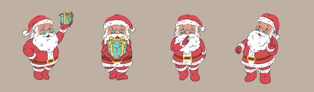 Kerstman organische stijl vectorillustratie verscheidenheid pose actie wisolated op bruine achtergrond