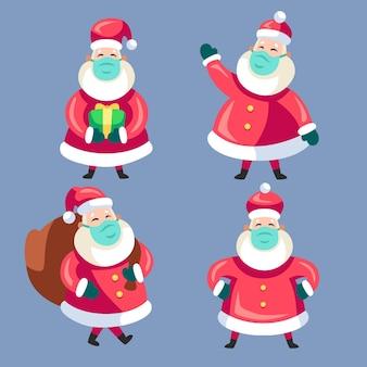 Kerstman pak met gezichtsmasker