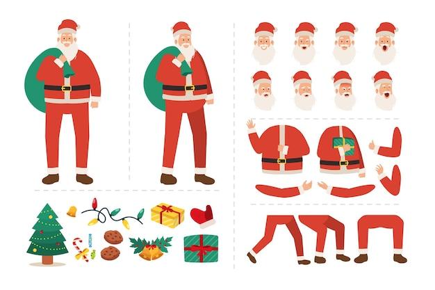 Kerstman-personage voor animatie met verschillende gezichtsuitdrukkingen, handgebaren, illustratie van lichaams- en beenbewegingen