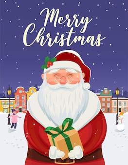 Kerstman portret. kerst wenskaart, poster.