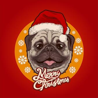 Kerstman pug illustratie