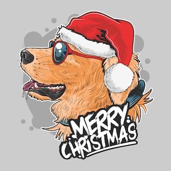 Kerstman puppy leuk gouden