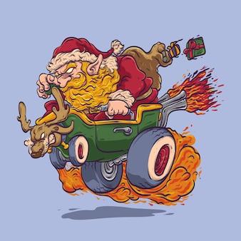 Kerstman rijden hot rod auto