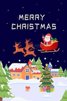 Kerstman rijdt in een hertenkar om geschenken in de stad te bezorgen