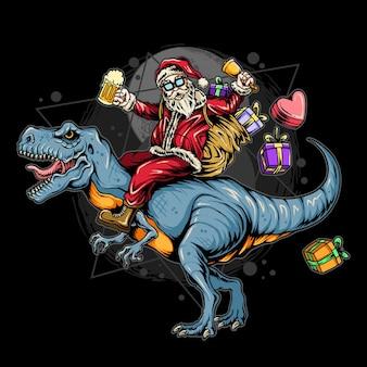 Kerstman rijdt op een rex dinosaurus met geschenken