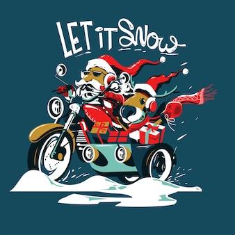 Kerstman rijdt op motorfiets met een zijspan, een zak met geschenken en een gewei