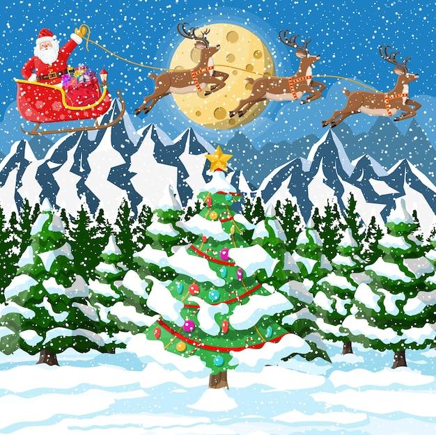 Kerstman rijdt rendieren slee illustratie Premium Vector