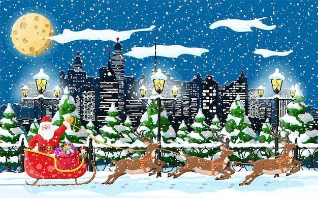 Kerstman rijdt rendierslee