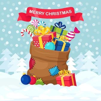 Kerstman rode zak met geschenkdoos