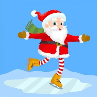 Kerstman schaatsen