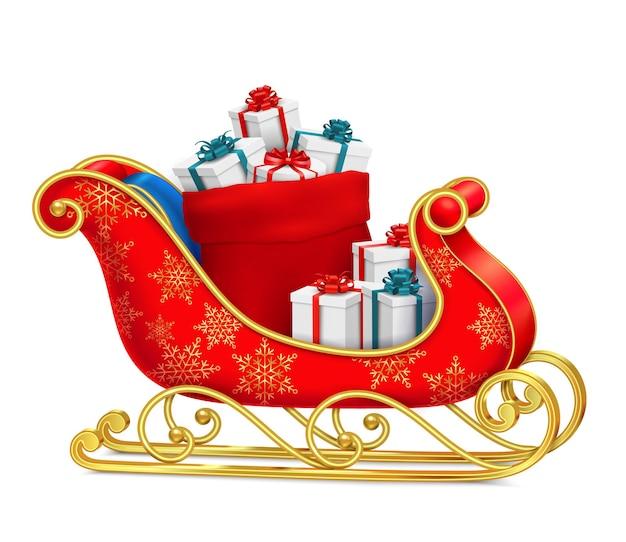 Kerstman slee met geschenken met op rode slee met ornamenten