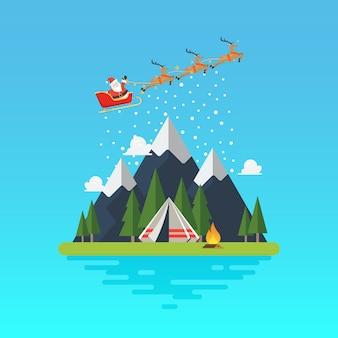 Kerstman slee met landschap