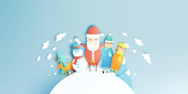 Kerstman, sneeuwman en rendieren in papier kunststijl met sneeuw en sneeuwvlok achtergrond
