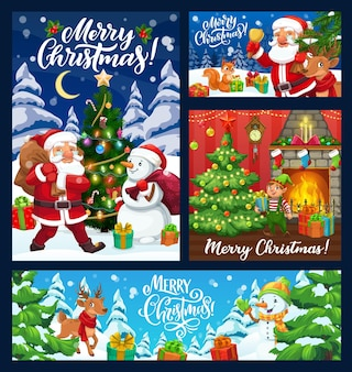 Kerstman, sneeuwpop en kerstcadeaus. kerstbanners