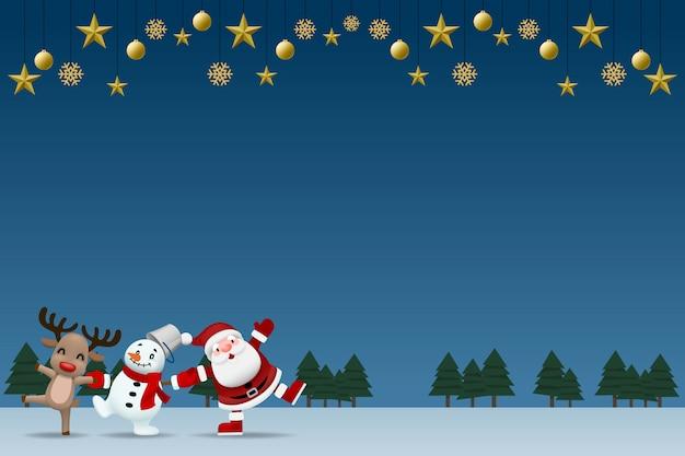 Kerstman, sneeuwpop en rendieren houden elkaar de hand.