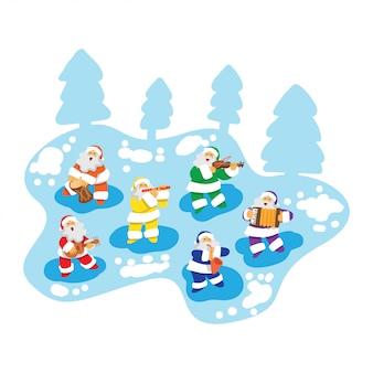 Kerstman spelen muziek