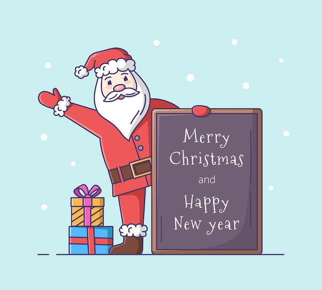 Kerstman stripfiguur. kerst vectorillustratie.