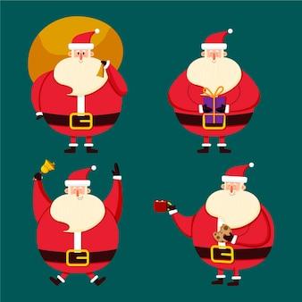 Kerstman tekenset hand getrokken