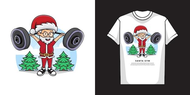 Kerstman tshirt ontwerp Premium Vector