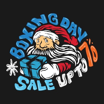 Kerstman tweede kerstdag verkoop handgetekende banners ontwerpsjabloon