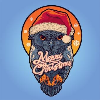 Kerstman uil illustratie