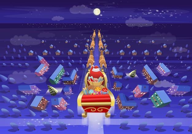 Kerstman vliegt op een slee met herten en geschenken door de nachtelijke stad met maan
