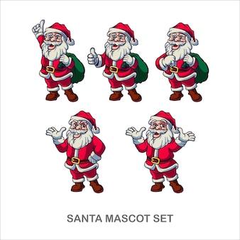 Kerstman vrolijk kerstfeest mascotte set