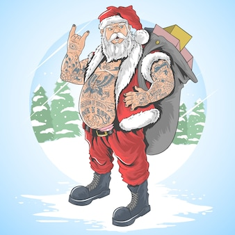 Kerstman vrolijke kerstmis tattoo volledige lichaam vector illustratie