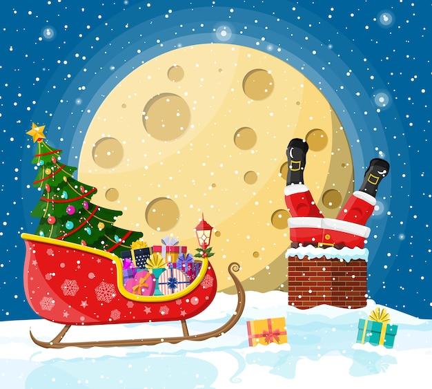 Kerstman zit vast in huis schoorsteen