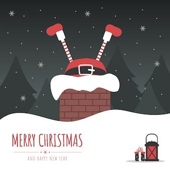 Kerstman zit vast in schoorsteen. kerstavond.