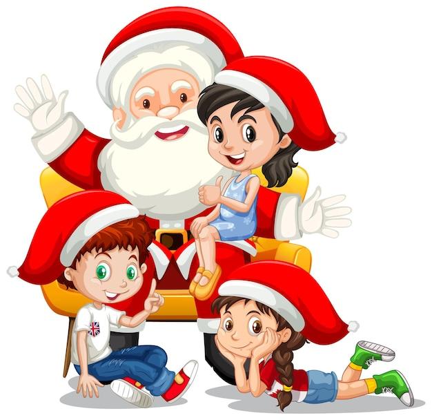 Kerstman zittend op zijn schoot met veel kinderen op witte achtergrond