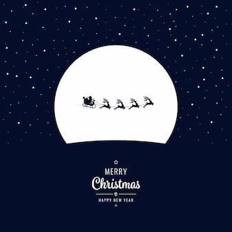 Kerstmanar die in de kerstmisnacht van de winter vliegt