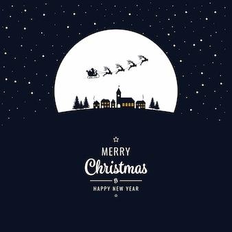 Kerstmanar die in de kerstmisnacht van het de winterdorp vliegen