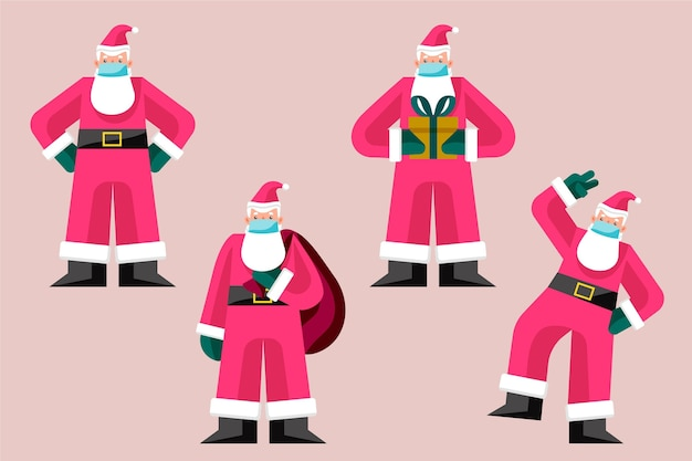 Kerstmancollectie die gezichtsmasker draagt