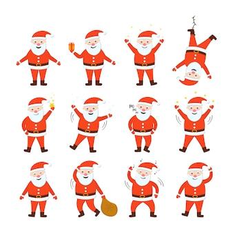 Kerstmannen ingesteld. vakantie bewegende stripfiguren.