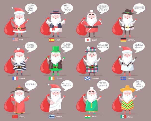 Kerstmannen uit landen over de hele wereld
