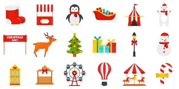 Kerstmarkt icon set